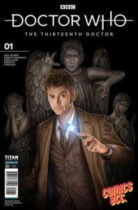 The Tenth Doctor, with his sonic screwdriver in hand, with Weeping Angels in the background