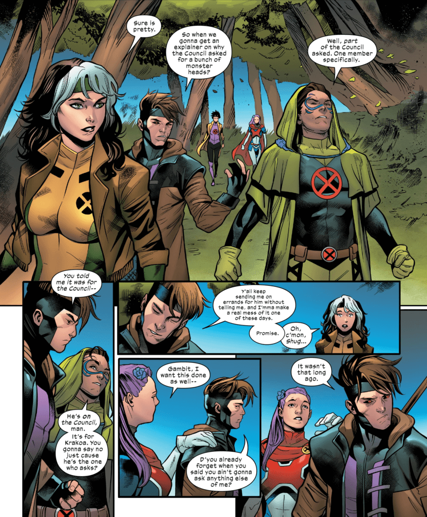 Gambit butts heads with Rictor and Captain Britain over the fact that they agreed to do work for -A- when Gambit doesn't trust him.