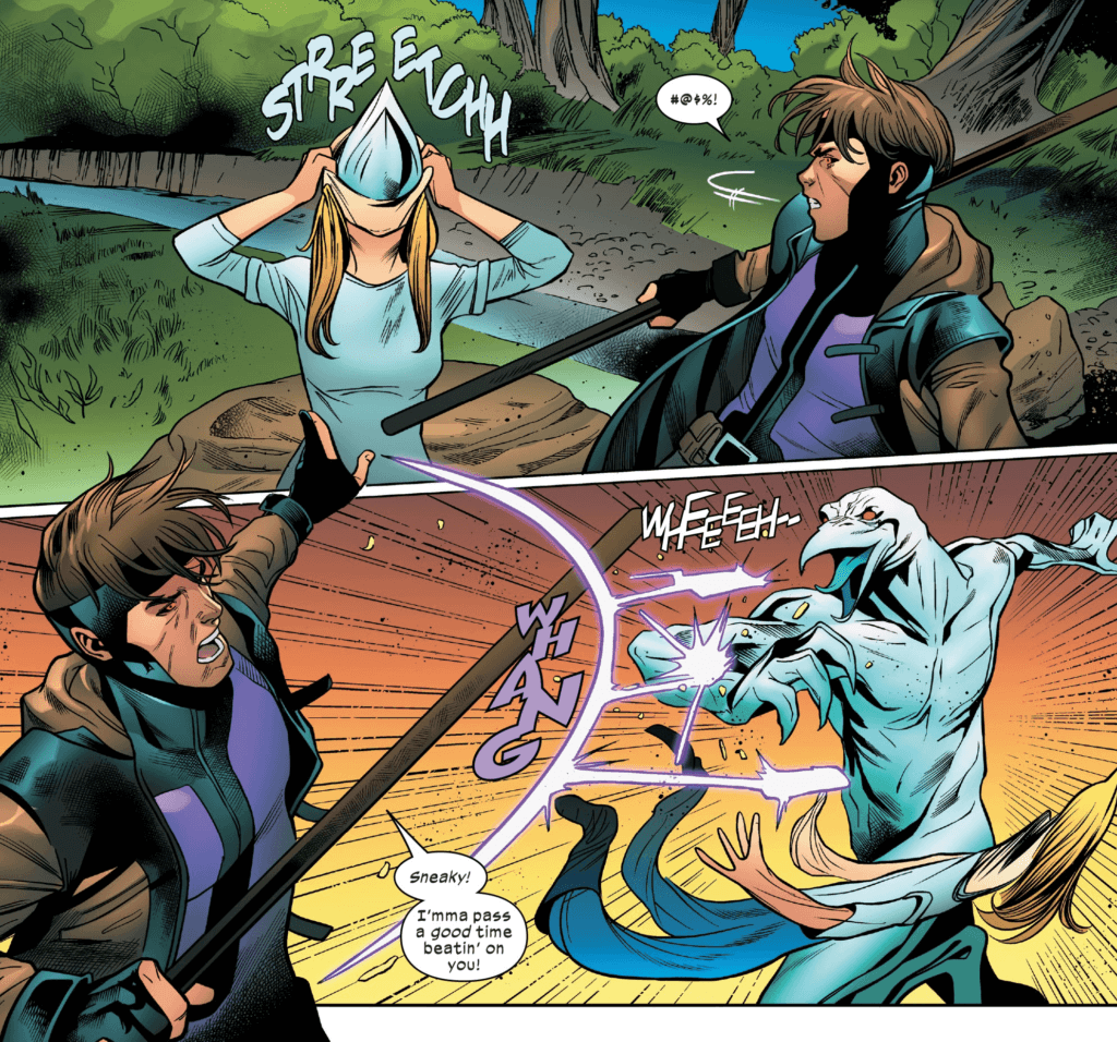Gambit encounters a Warwolf, who shapeshifts from a stolen body into its original form, in Excalibur #7.