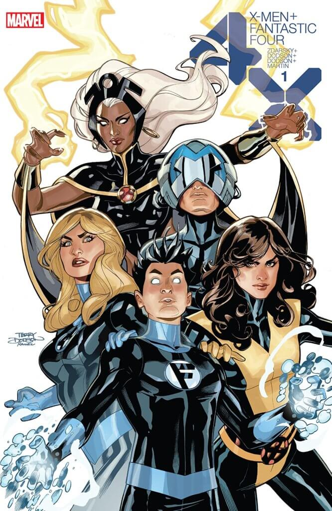 X-Men/Fantastic Four # cover featuring Xavier, Kate Pryde, Storm, and Sue and Franklin Richards