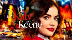 Katy Keene - a bright-eyed brunette with shoulder-length hair and bright red lipstick - poses before a sparkly but blurred backdrop of New York City. Over her left Shoulder is the show's title, in Red and White Script