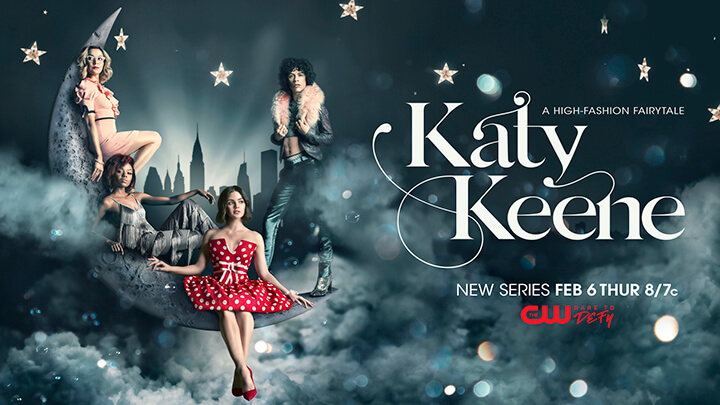 Katy Keene - a dark-haired twenty year old girl in a fancy retroish red dress - sits perched on a grey cloud. Surrounding her are friends - Jorge, in black leather with a white sheepskin collar; Josie in a black boustier, and Pepper Smith in Peach. They perch on grey clouds before a backdrop of a New York City skyline, which is highlighted from behind by milky sunlight from the rising sun