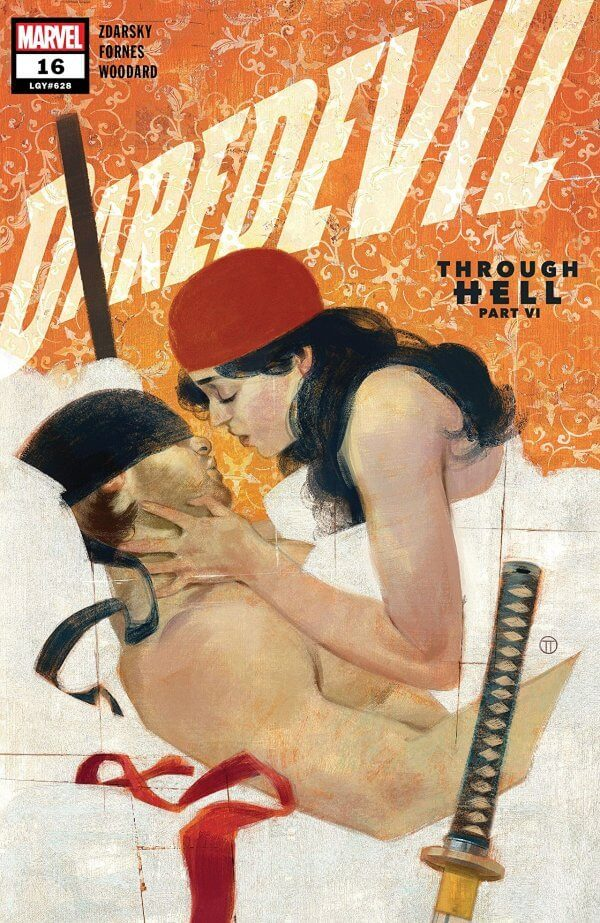Daredevil and Elektra are naked in bed, both masked under white sheets, their weapons within reach