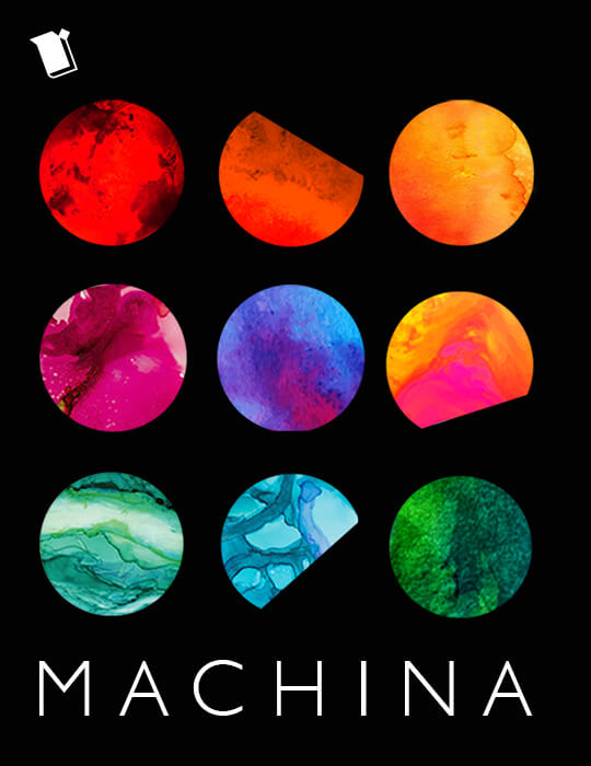 the cover of Machina shows planets of different colors and different levels of waxing and waning