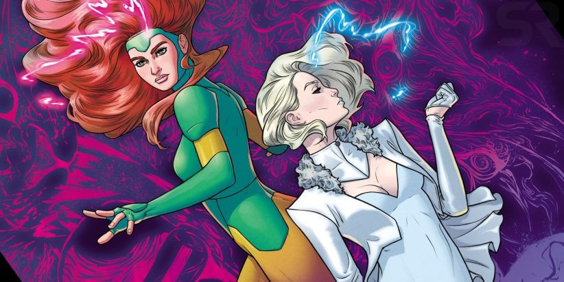 Jean Grey and Emma Frost float in a psychic realm