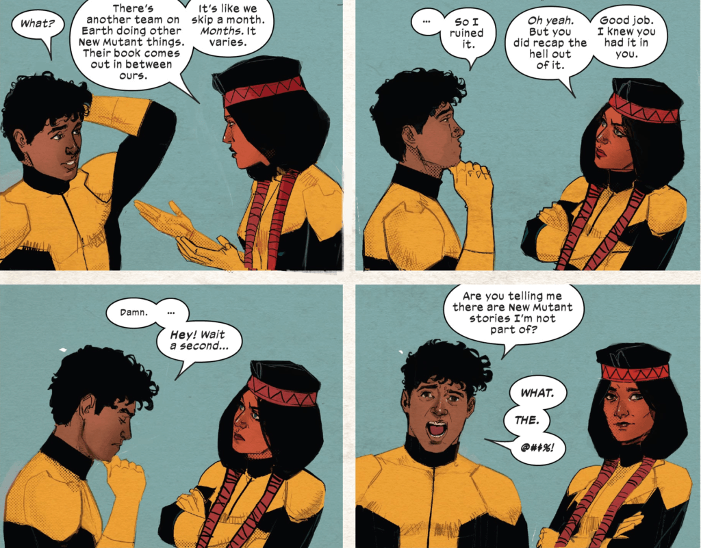 Dani Moonstar explains to Roberto da Costa that there are New Mutants comics he is not in, to his immediate shock, dismay, and horror.