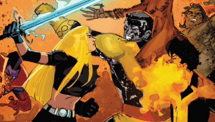An all out brawl between Magik and other members of the new mutants