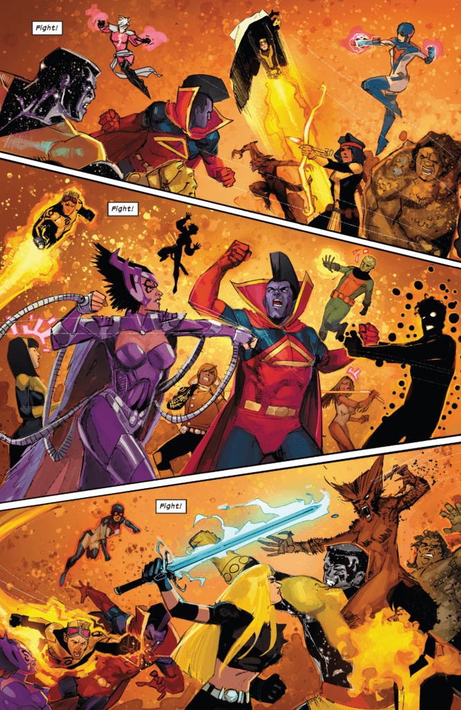 Fight! Fight! Fight!, reads lettering, over three scenes of fighting between the New Mutants and Shi'ar Imperial Guard, beautifully illustrated by Rod Reis.