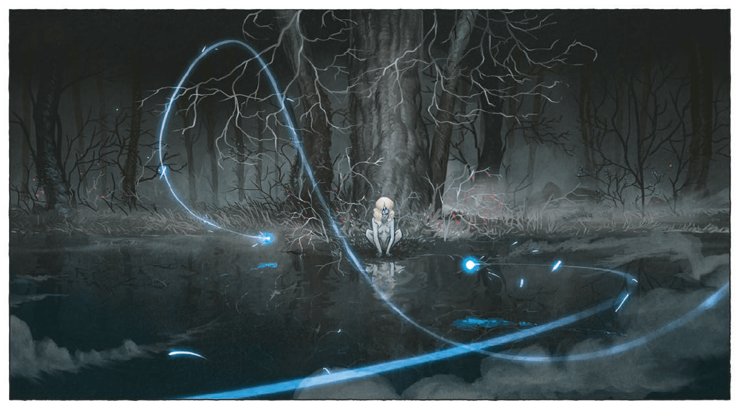 A naked, feminine figure with blonde hair squats at the base of a tree. They stare down at their reflection into a surface of water below, as a beam of glowing orbs fly from the foreground to their direction.