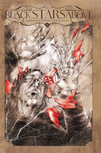A woman is reaching out above her in a shattered image