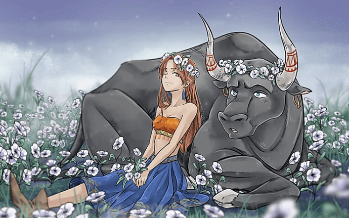 A woman leans against a sitting black bull wearing a flower crown. They are in a field of white flowers.