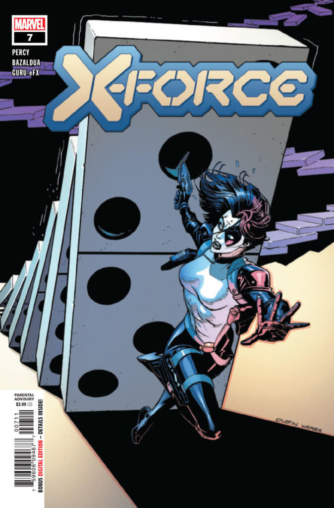 X-Force (2019) #7 cover, featuring Domino running from a falling train of dominoes.