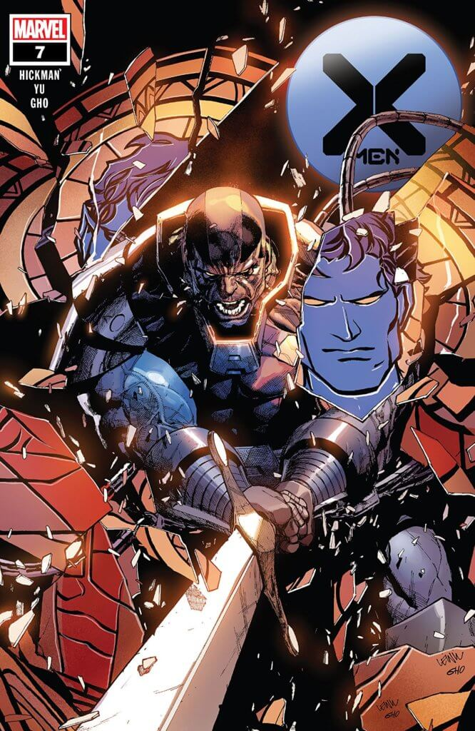 X-Men #7 cover featuring Apocalypse destroying a stained-glass image of Nightcrawler