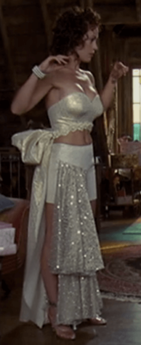 Phoebe wearing what is supposed to be a fairy tale ballgown. Image from Netflix.