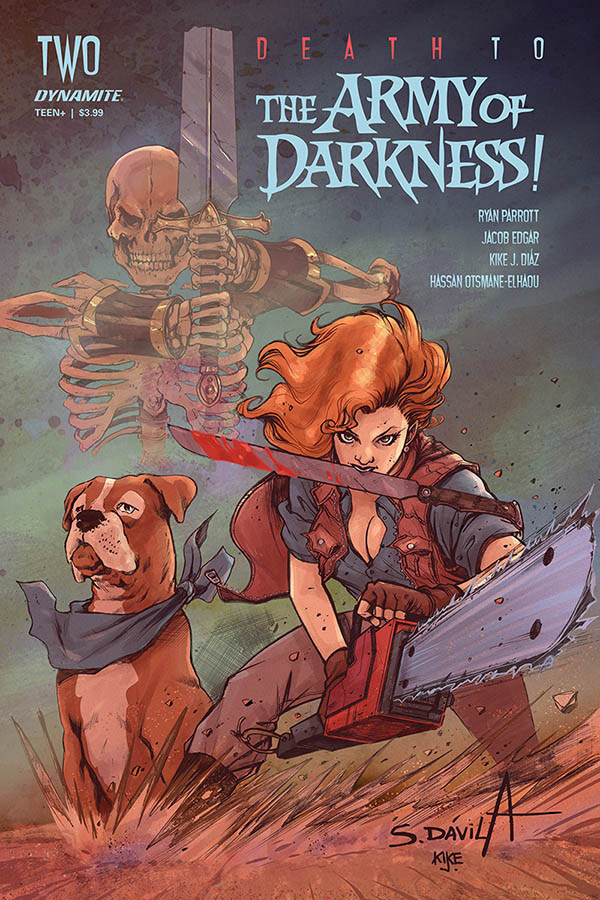 A Red-haired woman clutching a bloodstained machete in her teeth stands menacingly before the reader, holding a chainsaw in her hands. Beside her is a boxer dog with a blue bandanna, and behind them in the shadowed fog a skeleton glares menacingly in the distance. They stand on a hilltop in tanned, fall-bleached grass