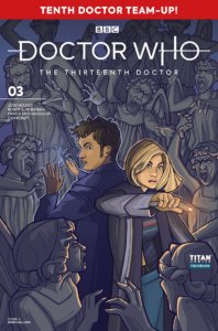 The Thirteenth and Tenth Doctors back to back, fighting a crowd of Weeping Angels