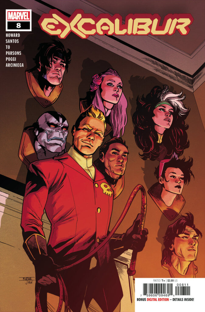 The team's heads mounted on Bloodstone's wall - Excalibur #8