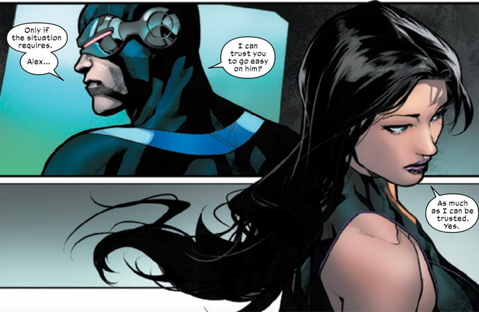 Cyclops and Psylocke discussing the treatment of Havok