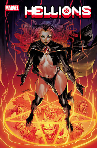 Maddie Pryor standing on a flaming pentagram - Hellions #3 cover - Marvel - August 2020 - Stephen Segovia