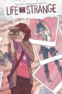 Max is taking a picture with her camera in the foreground, with Polaroids of Chloe in the background as puzzle pieces.