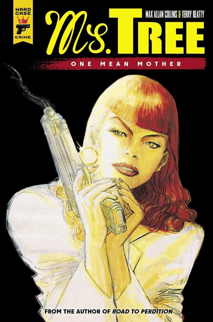 A woman holding a gun against a black background