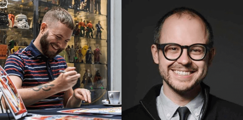 Photos of New Warriors creative team Luciano Vecchio (left) and Daniel Kibblesmith (right).