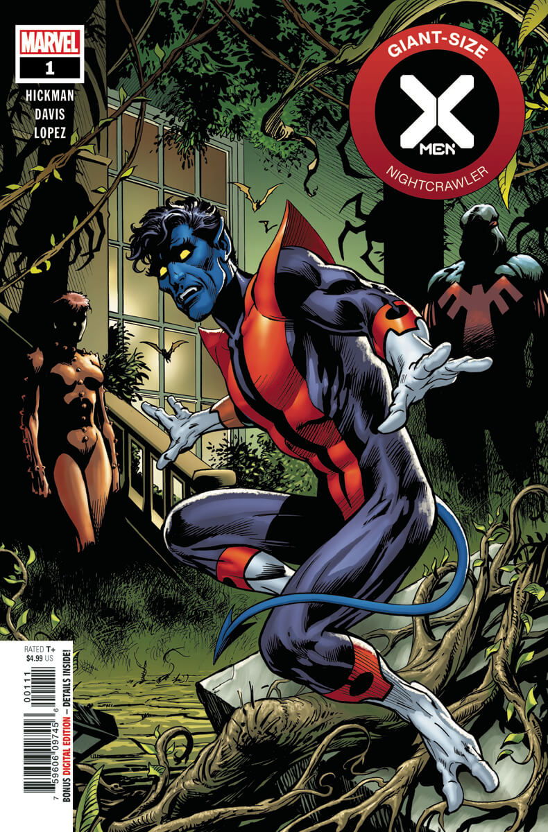 Nightcrawler is frightened. Behind him are shadowy figures of Rachel Summers and John Proudstar