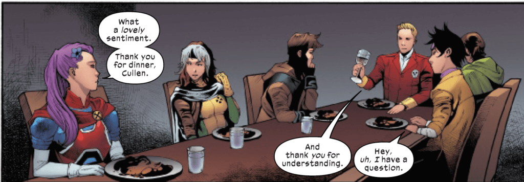 The team having dinner with Bloodstone