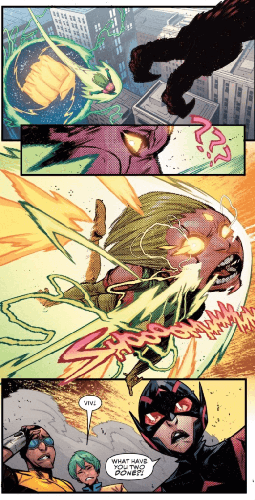 Panel from Outlawed #1 by Eve L. Ewing (writer), Kim Jacinto and Espen Grundetjern (artists), and Clayton Cowles (letterer) depicting Viv Vision, Power Man, Pinpoint, and Wasp during the big fight