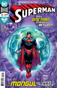 Superman in front of a glowing sphere