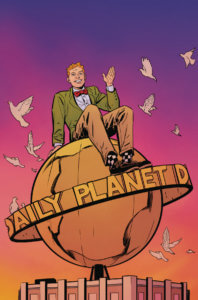 Jimmy sitting on the Daily Planet globe