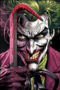 Joker holding a bloody crowbar