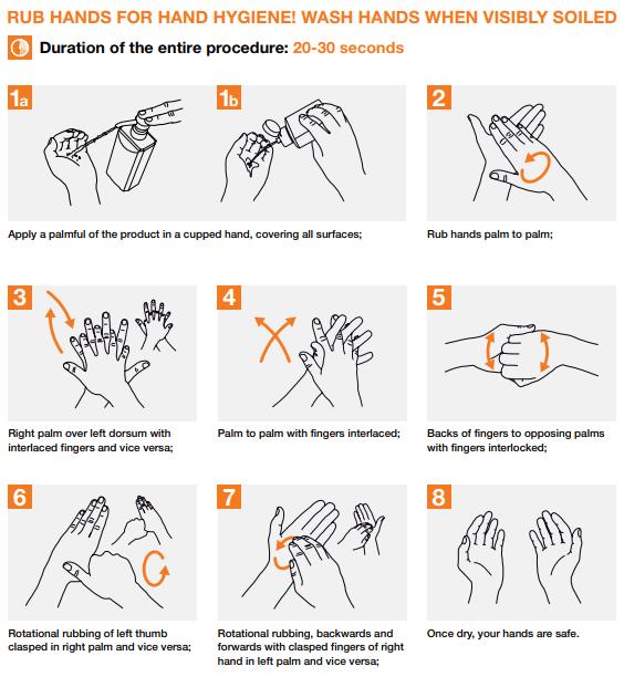 The steps of proper handwashing