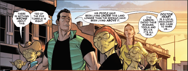 Wyatt Wingfoot speaks on behalf of a group of moloids. Fantastic Four (2019) #20, by Dan Slott and Paco Medina.
