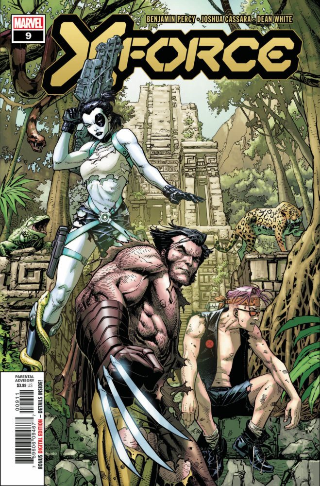 X-Force 9 Cover featuring Domino, Wolverine, and Kid Omega in a jungle setting.