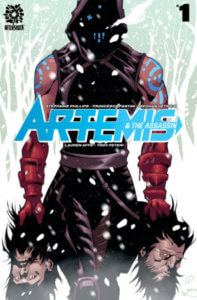 An assassin with a severed head in each hand takes up page space on this cover to Artemis and the Assassin #1, from AfterShock Comics.