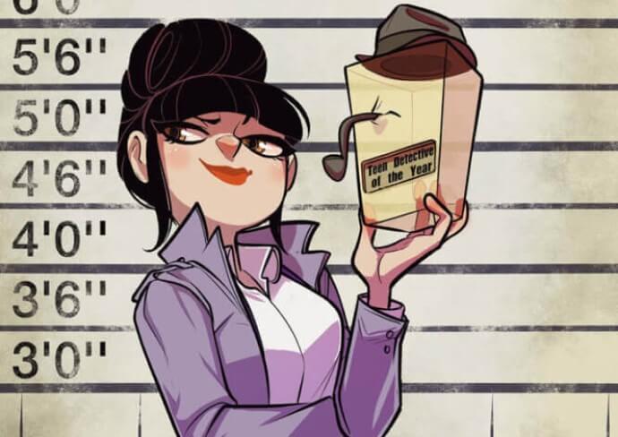 A woman looks away smuggly, holding a box dressed like Sherlock Holmes