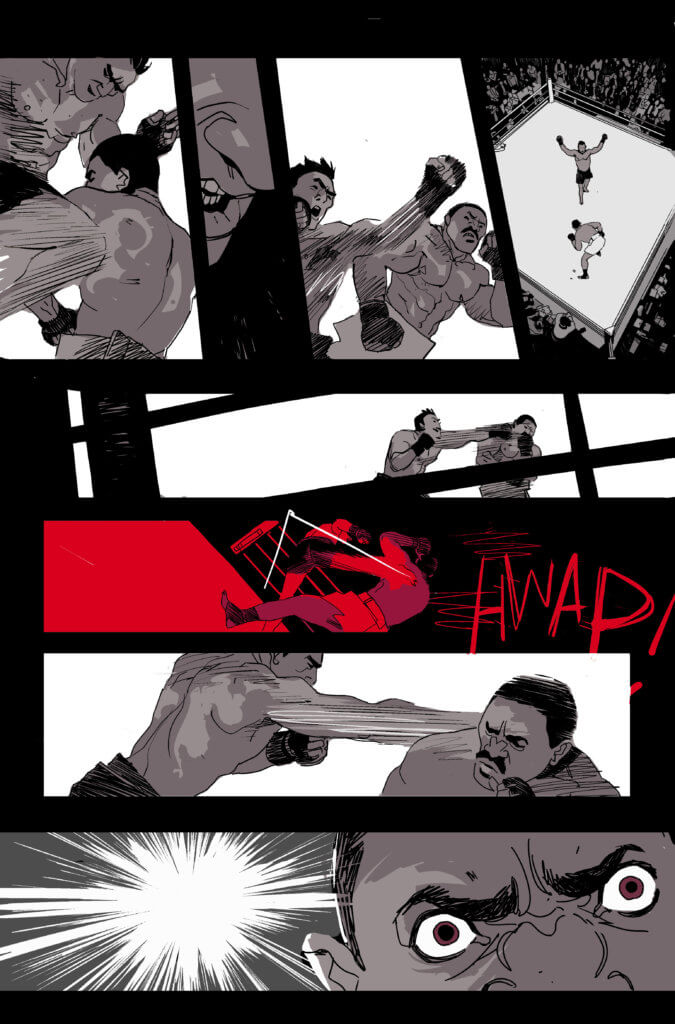 A heated MMA fight in between two men in the ring, in a new preview page from the upcoming OGN Kill a Man.