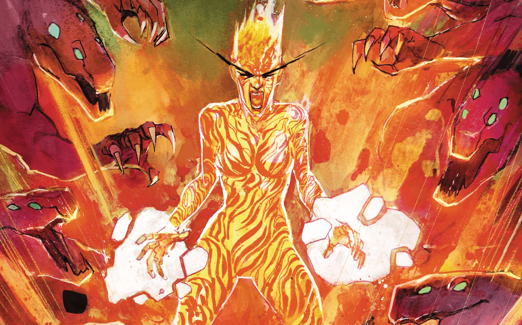 Magma keeps a horde of monsters back with her magma powers on this cover to New Mutants #8