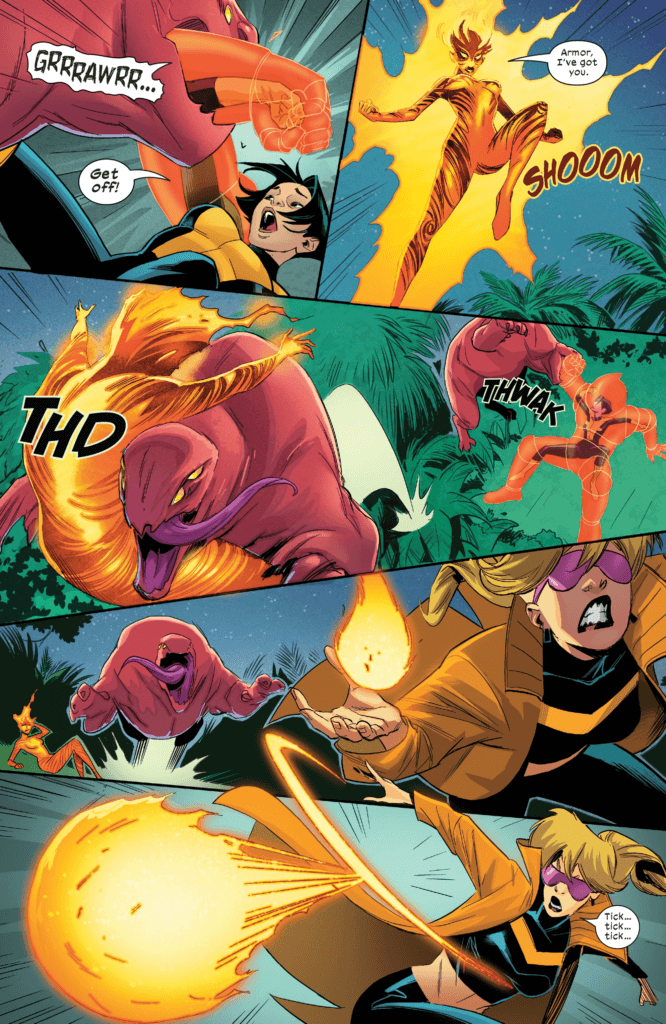 Armor, Boom Boom, and Magma flex their mutations in New Mutants #4, art by Marco Failla and Carlos Lopez (Marvel Comics, December 2019).