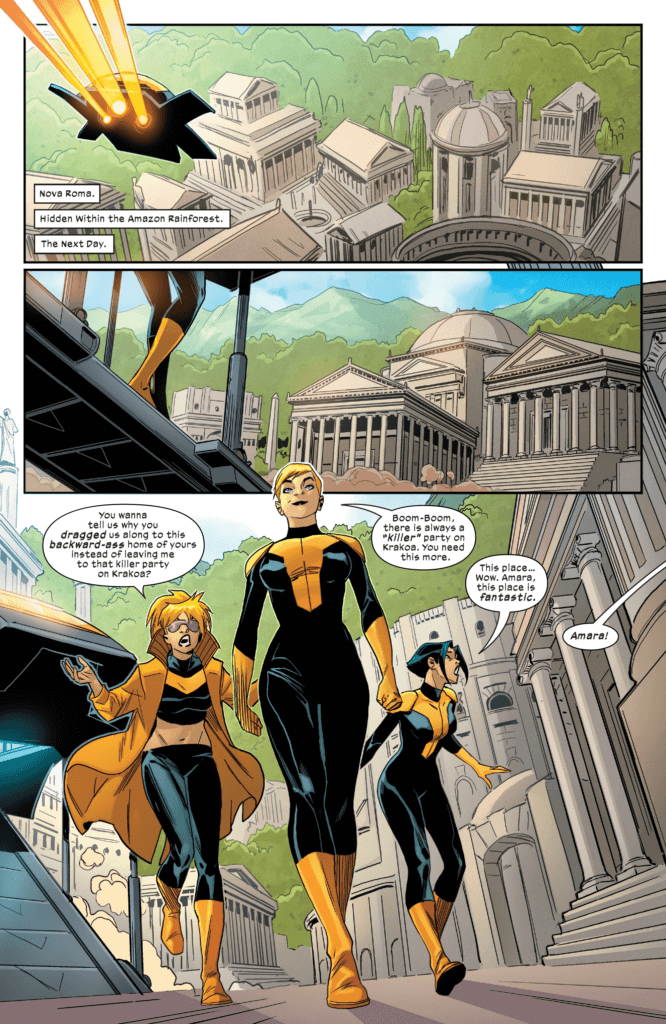 Magma introduces Boom Boom and Armor to Nova Roma in this page from New Mutants #8, art by Marco Failla and Carlos Lopez (Marvel Comics, December 2019).