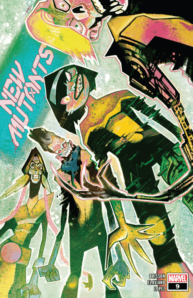 The New Mutants are grotesquely distorted on Mike del Mundo's cover to New Mutants #9