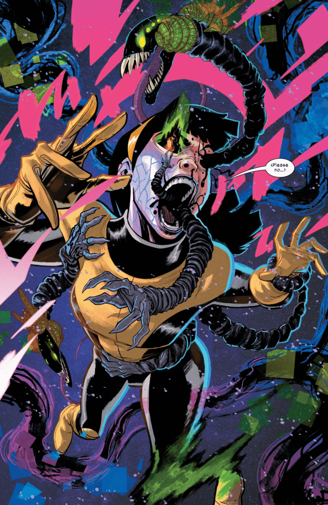 Karma uses her powers while coming under the influence of a nightmarish reality warping mutant in this interior page from New Mutants #9