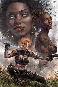 Draculina, an African American woman with a natural perm, large gold hoop earings and the white eyes of a vampire, is pictures from the shoulders up and superimposed on the horizon. Beside her to the right and standing in profile is Panthra, An African American woman with short, golden dreadlocks who gives the reader a sultry look. In the foreground is Chastity, a muscular white woman with red hair in a punkish haircut, a black mesh top and leather bustier and leather pants. She squats, aiming her gun and holding a glowing blue sword over her right shoulder and looks to the extreme left. Behind her, something burns, filling the skyline with smoke. bats dot the horizon, obscuring Panthra's nudity.