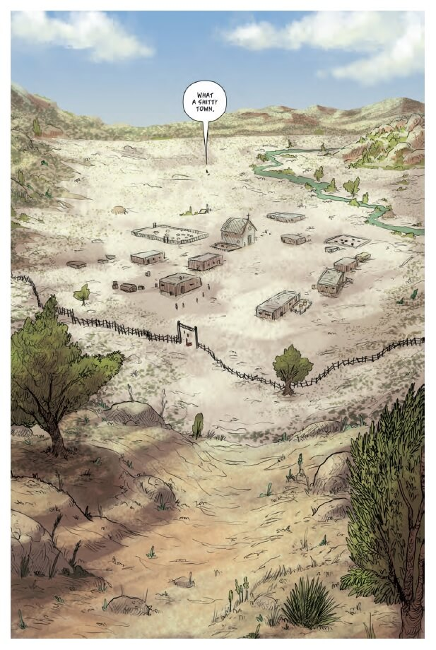 A wide view of a small settlement in a dry, barren environment with sparse trees. A speech bubble stretches from the tiny shape of a person in the distance, saying, 'What a shitty town.'
