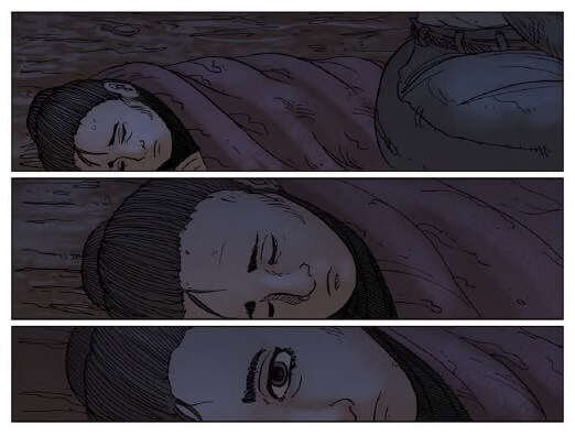 A three panel sequence of a young girl, asleep, bundled in a blanket, ending with one of her eyes opening.