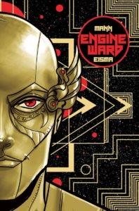 A gold robotic face