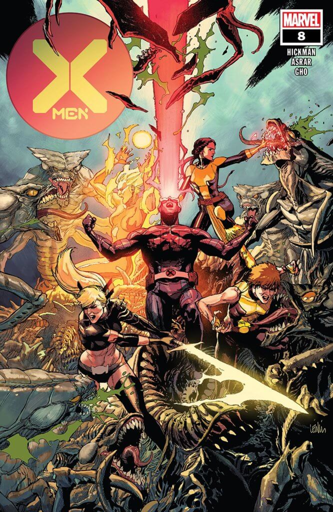 X-Men #8 cover, X-Men fighting the Brood