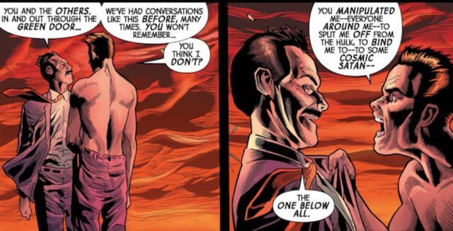 In two panels side by side, one man confronts another older man in anger