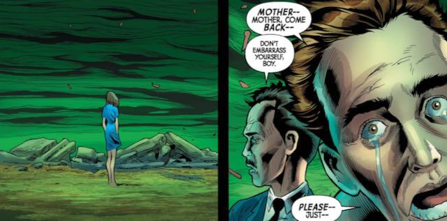 """Two panels,side by side. A woman stands alone in a desolate hellscape in the first. In the second, a man cries to her, """"mother, mother come back!"""" while another older man watches."""
